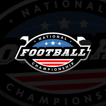 National championship. American football logo on a dark background. Vector illustration. Illustration