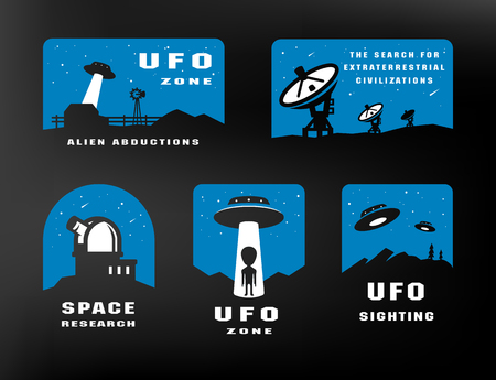 Ufology and space searches. Emblem, logo. Vector.