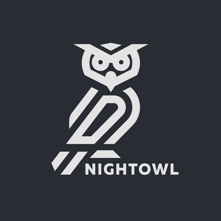 Linear owl logo or design template on a dark background.