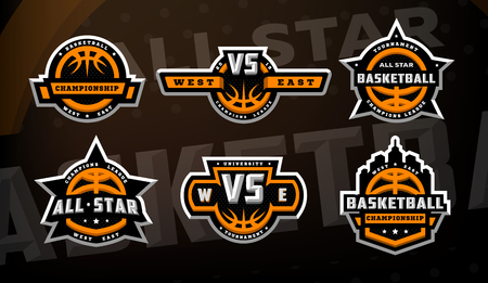 Set of basketball logos, emblems, labels on a dark background. Imagens - 118939354
