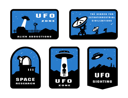 Set Ufology and space searches. Emblem, logo.