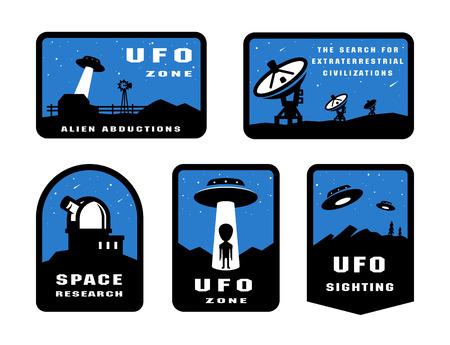 Set Ufology and space searches. Emblem, logo.