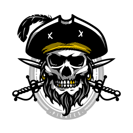 Pirate skull in vintage style. Skeleton head and crossed swords. Vector illustration, emblem, logo. Illustration