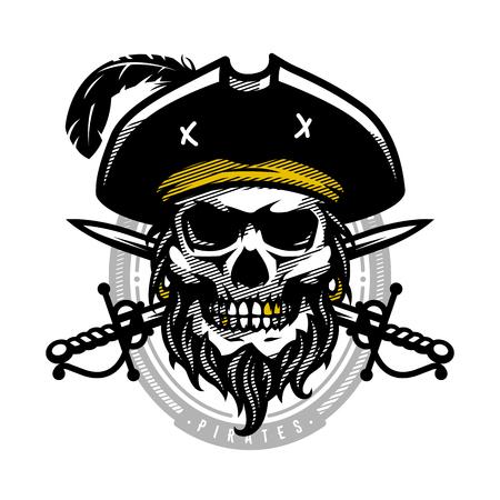 Pirate skull in vintage style. Skeleton head and crossed swords. Vector illustration, emblem, logo. Illustration