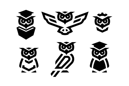 Set of linear owl logo or design template. Vector.