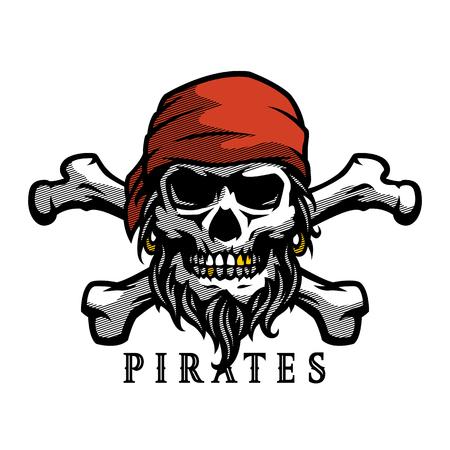 Pirate skull in vintage style. Skeleton head and crossed bones. Vector illustration, emblem, logo.