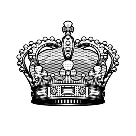 King crown. Vintage heraldic imperial sign