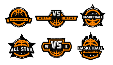 Set of basketball logos, emblems, labels. Vector illustration. Ilustração