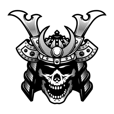 Samurai skull. Warrior helmet in black and white style. Vector illustration.