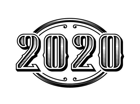 2020 numbers retro design in black and white style.