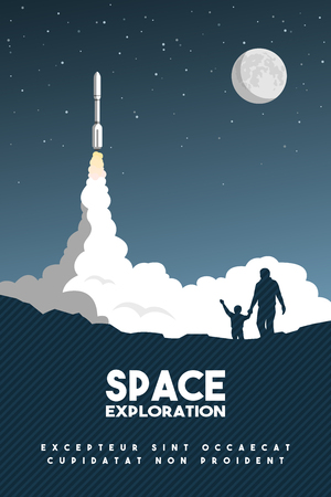 Rocket takes off in the starry sky. Space Research Poster.