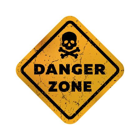 Zona de peligro, emblema sucio, signo. Ilustración de vector.