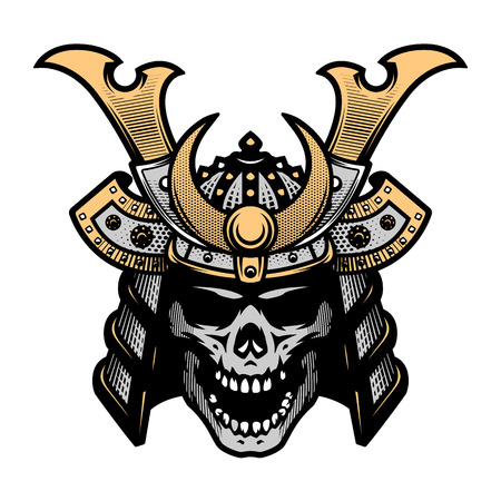 Samurai skull art. Warrior helmet Ilustracja