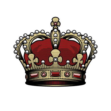 Corona del rey. Opción de color de signo imperial heráldico vintage