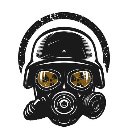 Casco y máscara de gas, protección radiológica.