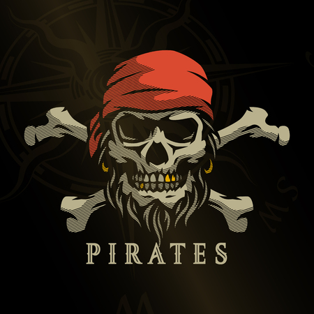 Pirate skull in vintage style. Skeleton head and crossed bones on a dark background.
