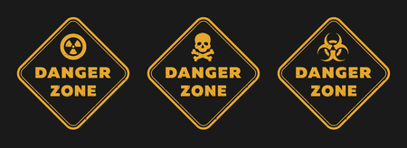 Danger zone signs, radiation, toxicity and mortal danger on a dark background.