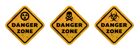 Danger zone signs, radiation, toxicity and mortal danger illustration.