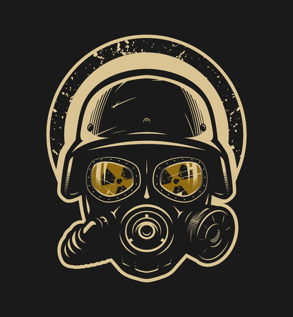 Helmet and gas mask, radiation protection Иллюстрация