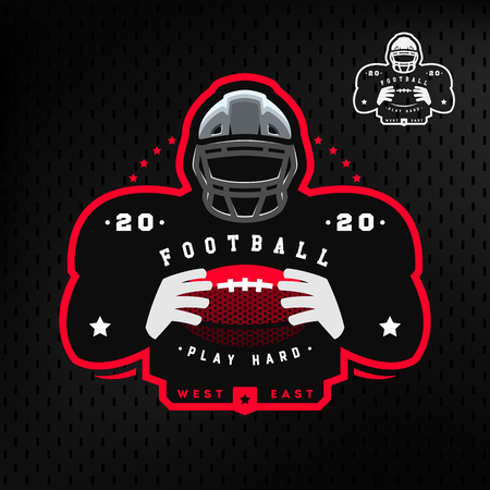 American football. Silhouette of a football player icon emblem on a dark background.