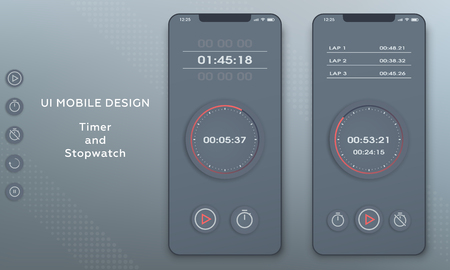 Stopwatch and timer clock application. UI mobile phone.
