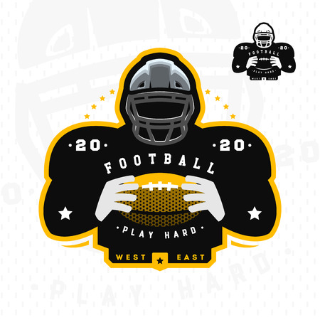 American football. Silhouette of a football player icon emblem.