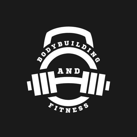 Linear icon bodybuilding and fitness on a dark background.