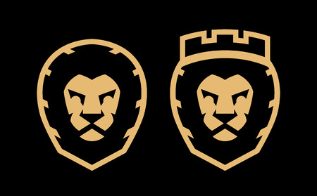 A lion with a crown and without, two options, a icon symbol.