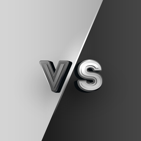 Versus icon, black and white VS letters.