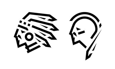 Icono, jefe y guerrero nativo americano. Ilustración de vector