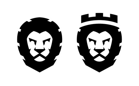 A lion with a crown and without, two options,  illustration.