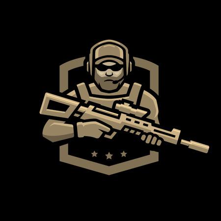 Soldado de las fuerzas especiales, emblema sobre un fondo oscuro. Ilustración de vector