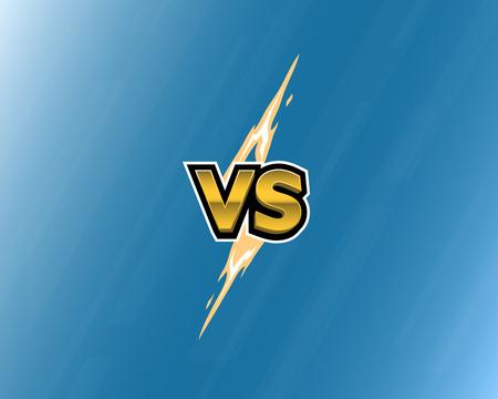 VS letters of lightning on blue background.