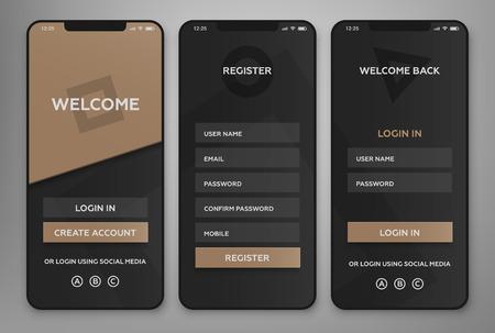 UI, UX Diseño de interfaz de aplicaciones móviles. Páginas de autorización y registro. Ilustración de vector