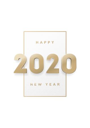 Feliz año nuevo, banner con números 3d de oro 2020. Ilustración de vector