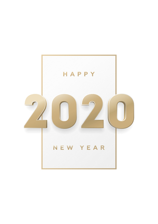 Happy new year, banner with gold 3d numbers 2020. Vectores