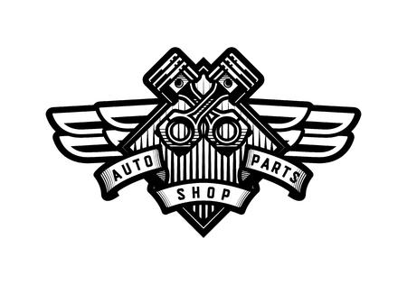 Auto parts store, car icon, emblem.