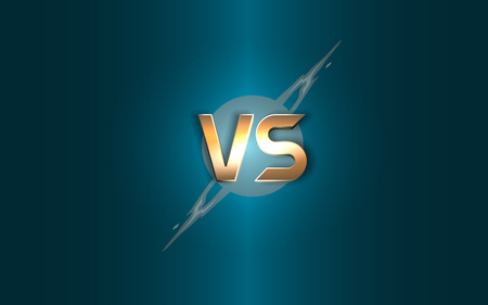 Versus background. Gold letters icon on the background lightning. Illustration