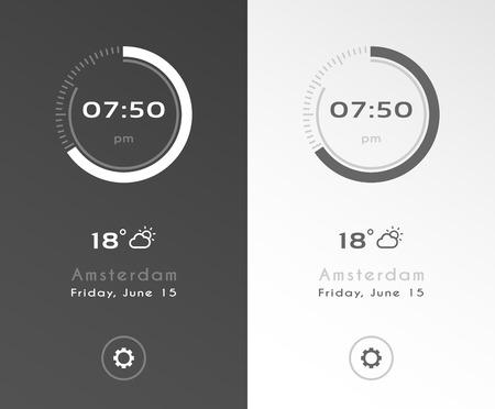 Mobile application interface design. Clock screensaver dark and light options.