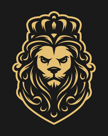 King lion in vintage style on a dark background. Illustration