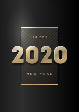 Felice anno nuovo, banner con numeri 3d in oro 2020 su sfondo scuro.