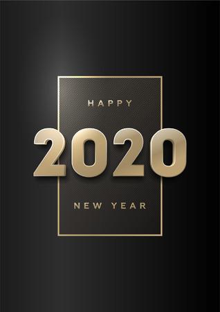 Gelukkig nieuwjaar, banner met gouden 3D-nummers 2020 op een donkere achtergrond.