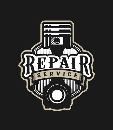 Auto repair service, car logo emblem on a dark background. Vector illustration