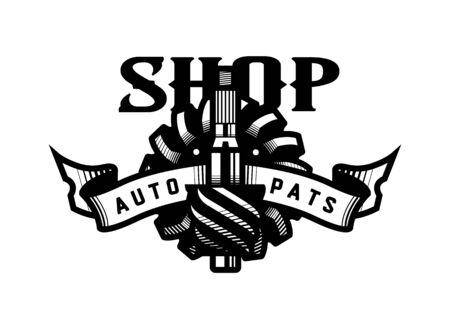 Auto parts store, car logo emblem. Vector illustration.