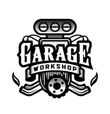 Garage, workshop, car logo, emblem. Vector illustration.