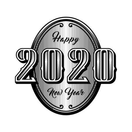 Happy new year 2020. Retro style emblem. Vector illustration.