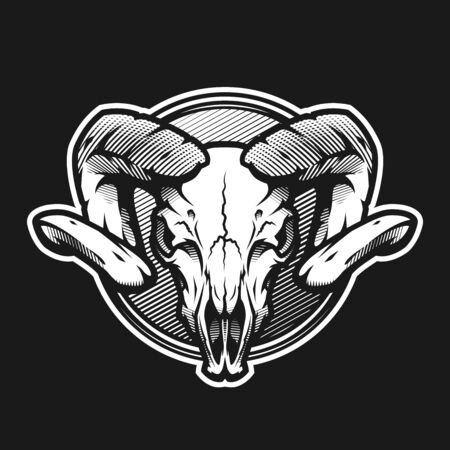 Ram skull on a dark background on a dark background. Ilustracja