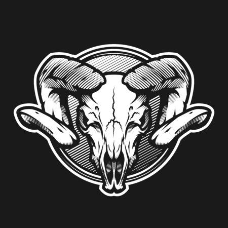 Ram skull on a dark background on a dark background. Illustration