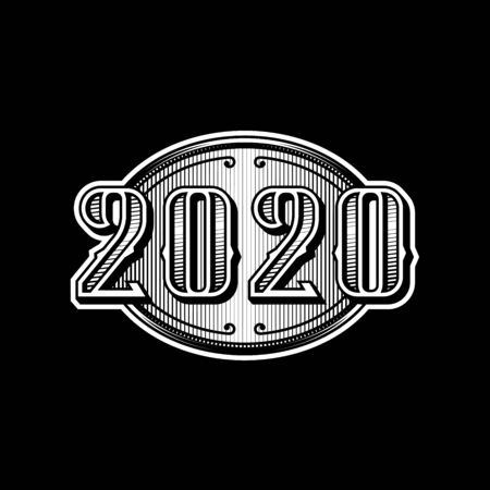 2020 numbers retro design in black and white style on a dark background.