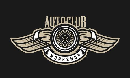 Wheel and wings auto logo, emblem on a dark background.